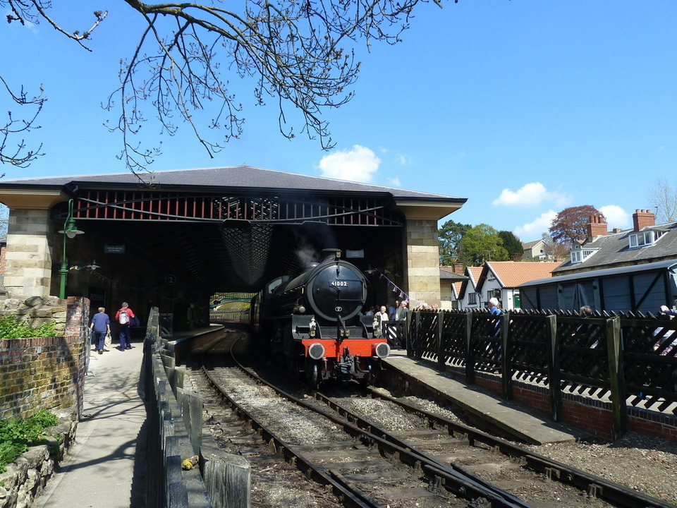 A steam train at Pickering Railway Station